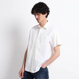 【Sサイズ~】ストライプ 切り替え カットソー シャツ (ホワイト)