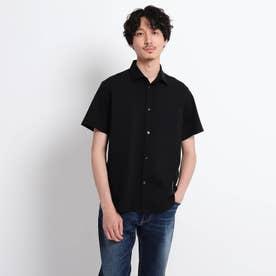 【Sサイズ~】ストライプ 切り替え カットソー シャツ (ブラック)