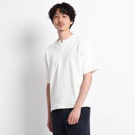 ウォッシャブル リネン キーネック ニット Tシャツ (オフホワイト)
