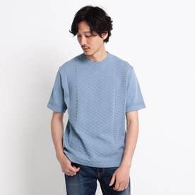 クルーネック ニット Tシャツ (ライトブルー)