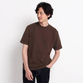クルーネック ニット Tシャツ (ブラウン)