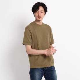 クルーネック ニット Tシャツ (タバコブラウン)