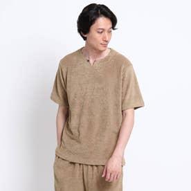 パイル キーネック Tシャツ (ベージュ)