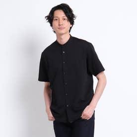 シアサッカージャージ バンドカラー 半袖シャツ (ブラック)