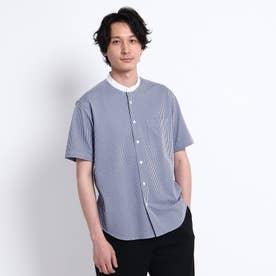 シアサッカージャージ バンドカラー 半袖シャツ (ブルー)
