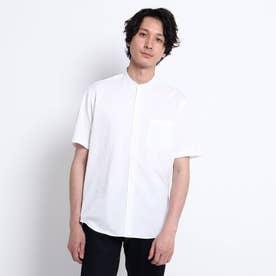シアサッカージャージ バンドカラー 半袖シャツ (ホワイト)