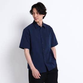 シャンブレー ジャガード ブロッキング 半袖 シャツ (ネイビー)
