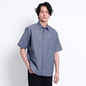 シャンブレー ジャガード ブロッキング 半袖 シャツ (ブルー)