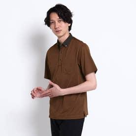 千鳥プリント カノコ ポロシャツ (ダークブラウン)