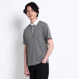 千鳥プリント カノコ ポロシャツ (ブラック)