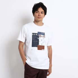 【Sサイズ~】パッチワークグラフィック プリントTシャツ (ホワイト)
