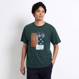 【Sサイズ~】パッチワークグラフィック プリントTシャツ (ダークグリーン)