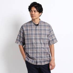 バンドカラー チェック 半袖 シャツ (グレー)