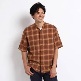 バンドカラー チェック 半袖 シャツ (キャメル)