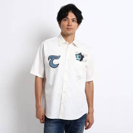 NEW TRAD ロゴ アップリケ 半袖シャツ (ホワイト)