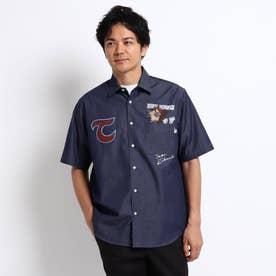 NEW TRAD ロゴ アップリケ 半袖シャツ (ネイビー)