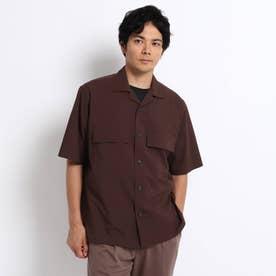 ダブル ポケット オープンカラー 半袖 シャツ (ダークブラウン)