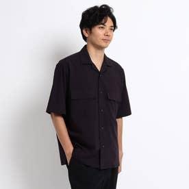 ダブル ポケット オープンカラー 半袖 シャツ (ネイビー)