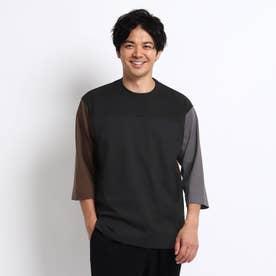 カラーブロッキング フットボール Tシャツ (ブラック)