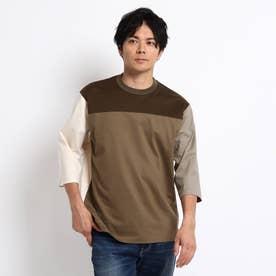 カラーブロッキング フットボール Tシャツ (タバコブラウン)