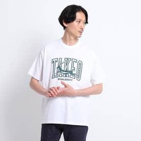 カレッジロゴ プリント ビッグTシャツ (ホワイト)