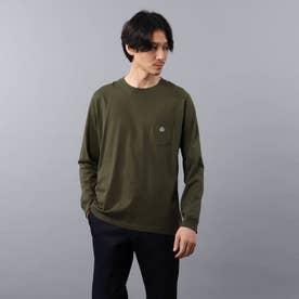 【Sサイズ~】クラシックワンポイント ポケット ロンT (モスグリーン)