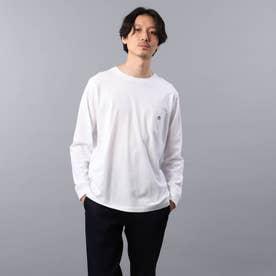 【Sサイズ~】クラシックワンポイント ポケット ロンT (ホワイト)