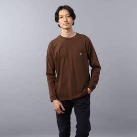 【Sサイズ~】クラシックワンポイント ポケット ロンT (ブラウン)