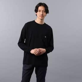 【Sサイズ~】クラシックワンポイント ポケット ロンT (ブラック)