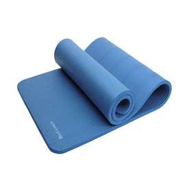 ふかふかエンボス加工ヨガマット+ゴムハンド+収納ケース 3点セット 極厚15mm (ブルー)