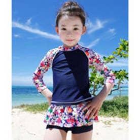 水着 長袖トップス スカート風パンツ 3点セット (ワンカラー)【返品不可商品】