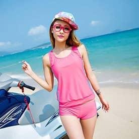 スポーティータンク ボーイッシュ3点セット フィットネス水着【返品不可商品】 (ピンク×ホワイト)