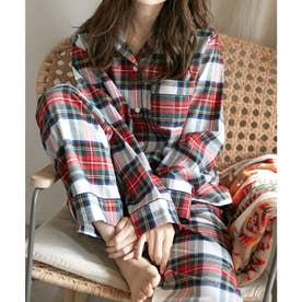 レディース ふんわり長袖セットアップパジャマ (レッド×ホワイト)
