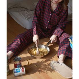 レディース ふんわり長袖セットアップパジャマ (レッド×ブラック)
