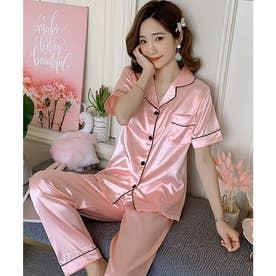 レディース きれいめツヤ感パジャマ上下2点セット (ピンク)