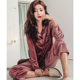 レディース ベロア風大人きれいめセットアップルームウェアパジャマ 上下2点セット (ローズピンク)