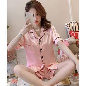 レディース シンプルつやテロ半袖パジャマ上下2点セット (ピンク)