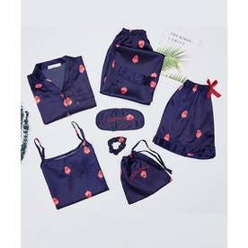 レディース きれいめ長袖パジャマ上下+キャミソール+ショートパンツ+シュシュ+アイマスク+巾着袋 お泊り7点セット (ネイビー)