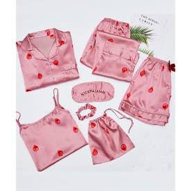 レディース きれいめ長袖パジャマ上下+キャミソール+ショートパンツ+シュシュ+アイマスク+巾着袋 お泊り7点セット (ピンク)