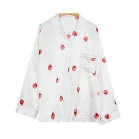 レディース きれいめ長袖パジャマ上下+キャミソール+ショートパンツ+シュシュ+アイマスク+巾着袋 お泊り7点セット (ホワイト)