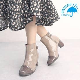 【レイン対応】 雨の日も安心♪おしゃれなレイン対応エナメルショートブーツ TN4501 (ベージュコンビ)
