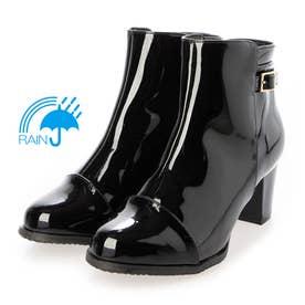 【レイン対応】 雨の日も安心♪おしゃれなレイン対応エナメルショートブーツ TN4501  (ブラックエナメル)