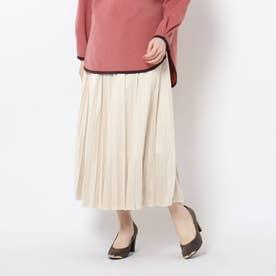 スエードタッチプリーツスカート (オフホワイト)