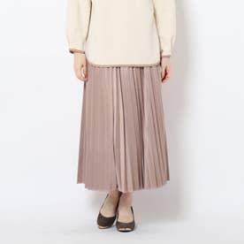 スエードタッチプリーツスカート (タバコブラウン)