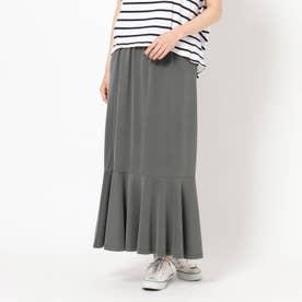 サンドウォッシュ裾切り替えスカート (チャコールグレー)