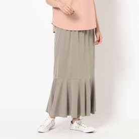 サンドウォッシュ裾切り替えスカート (ベージュ)