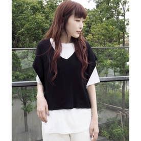 ニットベスト+Tシャツ セット (ブラック)