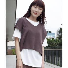 ニットベスト+Tシャツ セット (ブラウン)