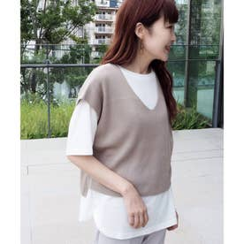 ニットベスト+Tシャツ セット (ベージュ)