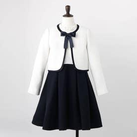 【入学式/卒園式/スーツ/セレモニー/4WAY】スカート付きワンピースSET (ネイビー)